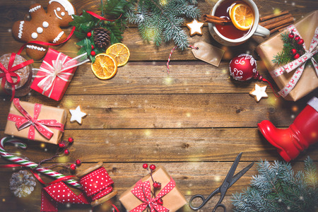 Christmas vintage presents on a wooden background. Top view Stok Fotoğraf