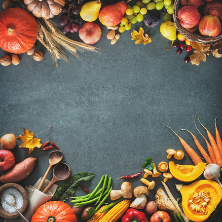Thanksgiving day or seasonal autumnal background with pumpkins, vegetables and fruits on stone background. Frame with copy space for text