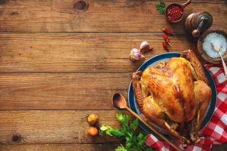 Christmas or Thanksgiving turkey on rustic wooden table Stock fotó - 87180628
