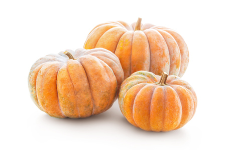 Group of nutmeg pumpkins isolated on white background