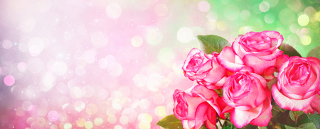 Romantic background with bouquet of pink roses for Valentines day and other holidays