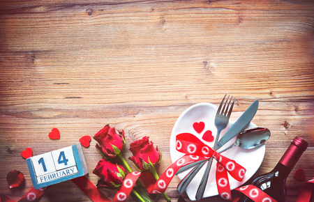 Valentines day table place setting. Holidays background Stock Photo