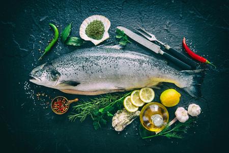 Fresh salmon fish with seasoning on black stone background