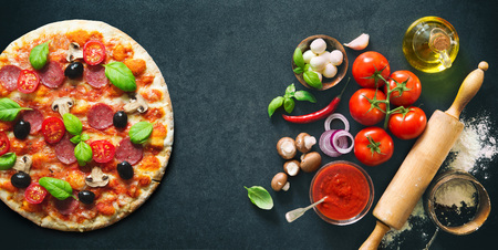 Delicious pizza with ingredients and spices. Top view with copy space on wooden table Stok Fotoğraf