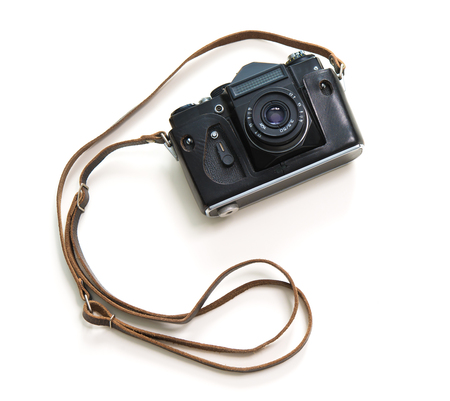 Vintage camera isolate on white background, top view Stock Photo