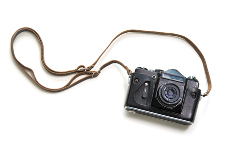 Vintage camera isolate on white background, top view Banco de Imagens