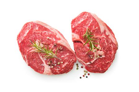 fresh raw rib eye steaks isolated on white background, top view Stock Photo - 98101105