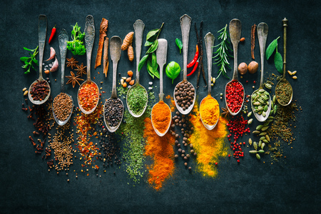 Colourful various herbs and spices for cooking on dark background Reklamní fotografie - 99230322