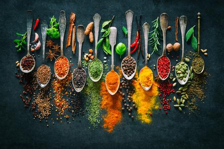 Kolorowe różne zioła i przyprawy do gotowania na ciemnym tle Zdjęcie Seryjne