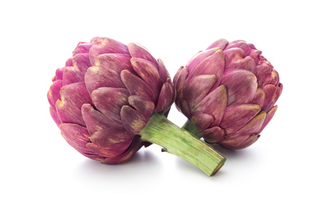 Purple artichokes. Isolated on white background Stockfoto