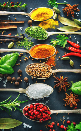 Various herbs and spices with old metal spoons on dark background Stock Photo