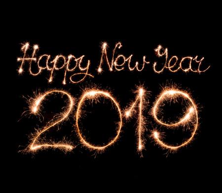 2019 text made from sparkler firework light