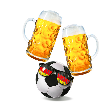 Two glasses with beer and soccer ball with german fan sunglasses isolated on a white background Stock Photo