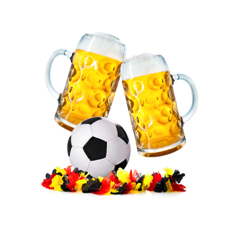 Two glasses with beer and soccer ball with german flower chain isolated on a white background
