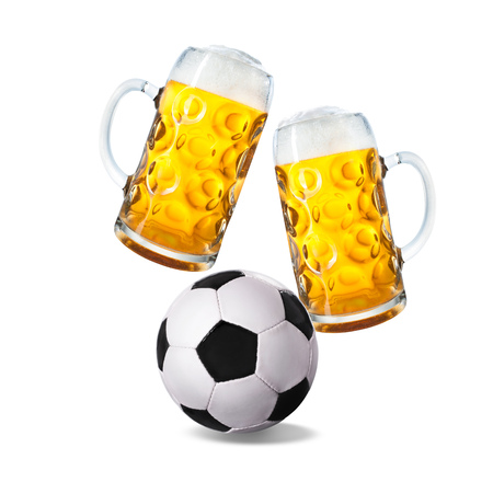 Two glasses with beer and soccer ball isolated on a white background Stock Photo