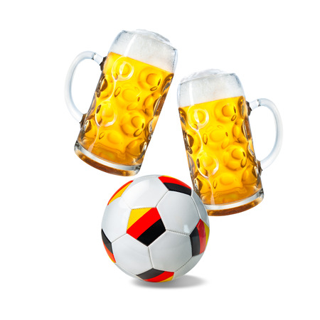 Two glasses with beer and soccer ball with german flag isolated on a white background Stock Photo
