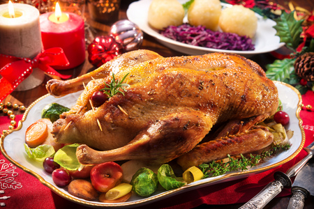 Baked Christmas duck with thyme 스톡 콘텐츠