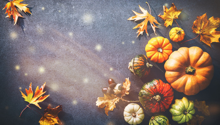Thanksgiving background with various pumpkins, gourds and falling leaves on rustic dark table Foto de archivo - 108473327