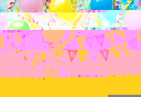Party frame with balloons, streamers and confetti on colorful  with copy space and text Happy Birthday