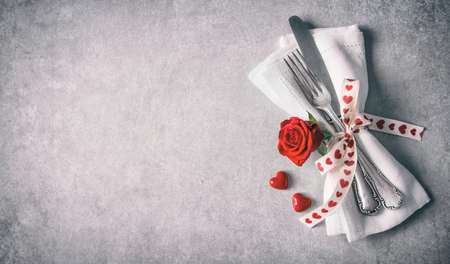 Valentines day table place setting. Stock Photo