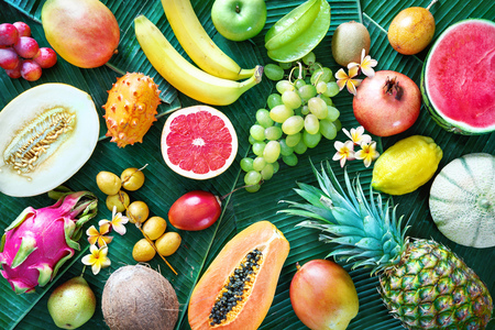 Assortment of tropical fruits on leaves of palm trees. Top view Archivio Fotografico - 121800567