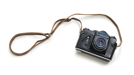 Vintage camera isolated on white background, top view Archivio Fotografico - 121800571