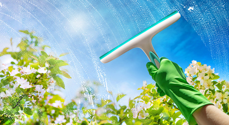Cleaning window pane with detergent, spring cleaning concept Stockfoto