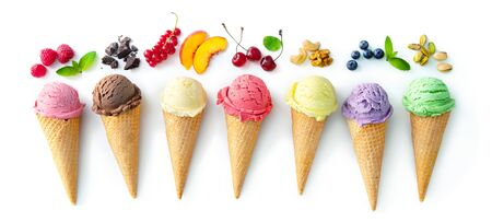 Various varieties of ice cream in cones with mint, blueberry, strawberry, pistachio, cherry and chocolate isolated on white background
