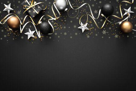 Decorazioni natalizie dorate con scatole regalo su oscurità