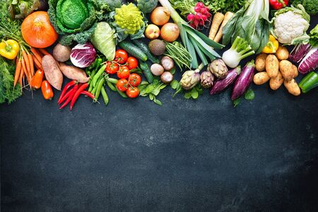Panoramic colorful food with assortment of fresh organic vegetables with copy space