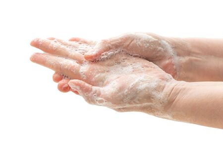 Washing hands with soap to prevent germs, bacteria or viruses. Stock Photo