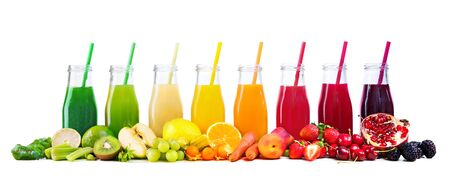 Assortment of fresh fruits and vegetables juices in rainbow colors isolated on white background Reklamní fotografie