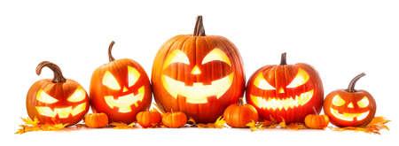 Halloween pumpkin head jack-o-lantern isolated on white background