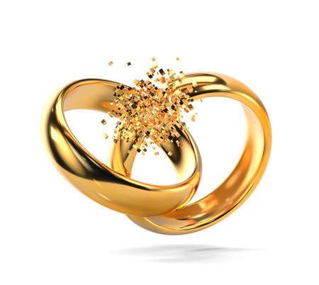 Broken gold wedding rings as divorce symbol isolated on white background (3d render)