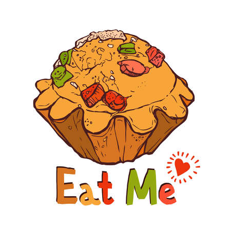 eat me: funny illustration of cupcake with fruit pieces and with text eat me