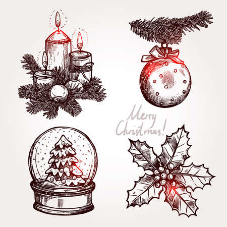 snowglobe: Christmas Set With Holiday Objects. Snowglobe, Holly, Christmas Ball And Candles