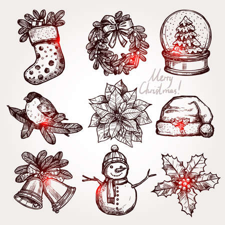 christmas candle: Christmas Sketch Collection Of Attributes And Symbols Illustration