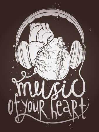 Diseño de Cartel de la música Con anatómico del corazón y de los auriculares en la pizarra, la ilustración con la tipografía