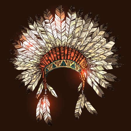 Hand gezeichnet Native American Indian Kopfschmuck. Vector Farbe Illustration indischen Stammeshäuptling Federhut Vektorgrafik