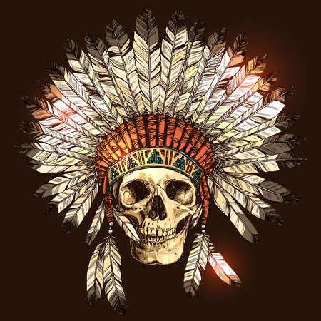 手描き人間の頭蓋骨とのネイティブ アメリカン インドのヘッドドレス。インド部族長羽帽子と頭蓋骨のベクトル カラー イラスト