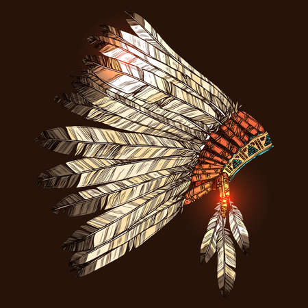 Indian Tribal Headdress, Color Hand Drawn Illustration On Dark Background