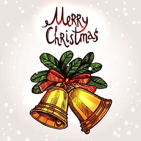 hand bells: Christmas Card With Hand Drawn Golden Bells