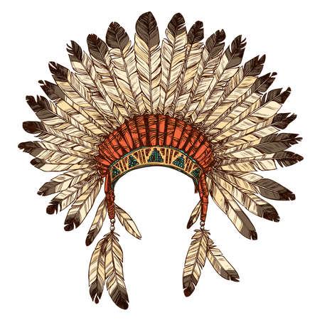 Dibujado mano indio del nativo americano del tocado. Vector ilustración en color de tribal del indio jefe sombrero de la pluma