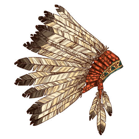 Hand Drawn Native American Indian Coiffe In Profile. Vector Couleur Illustration Of Indian Tribal Chief Feather Hat Vue latérale