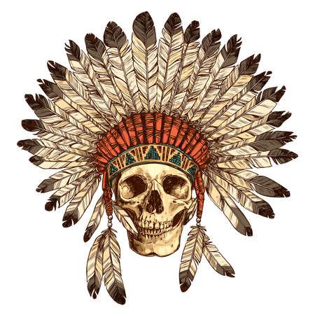 Hand Drawn Native American Indian Headdress With Human Skull. Vector Color Illustration Of Indian Tribal Chief Feather Hat And Skull