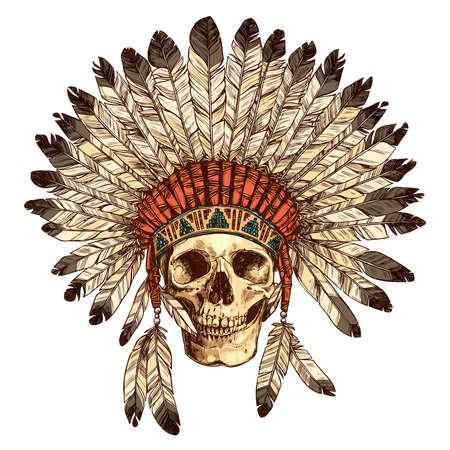 Hand Drawn Amerikaanse Indianen hoofdtooi met menselijke schedel. Vector kleur illustratie van Indiase stamhoofd Pet van de Veer en schedel