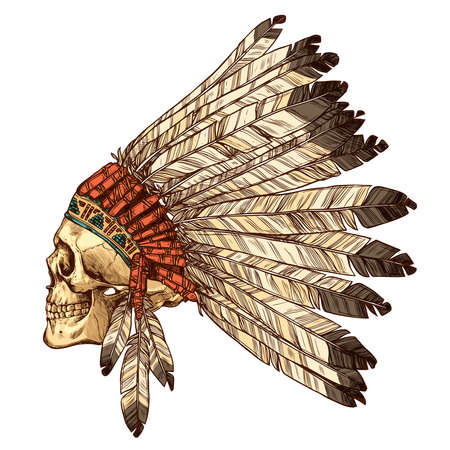 Hand Drawn Native American Indian Headdress With Human Skull In Profile. Vector Color Illustration Of Indian Tribal Chief Feather Hat And Skull Side View 向量圖像