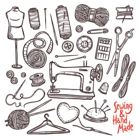 Accessori e attrezzature per cucire. Schizzo a mano Set Drawn Vettoriali