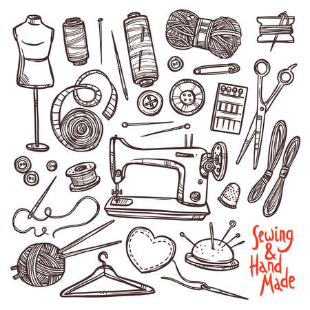 Accessories And Equipment For Sewing. Sketch Hand Drawn Set