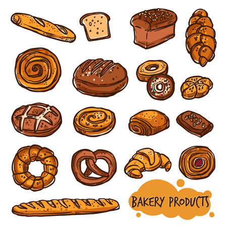 Bakery Products. Bread Color Set In Sketch Style